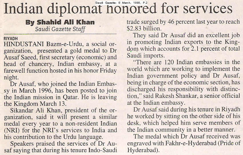 Indian Diplomat honored for services