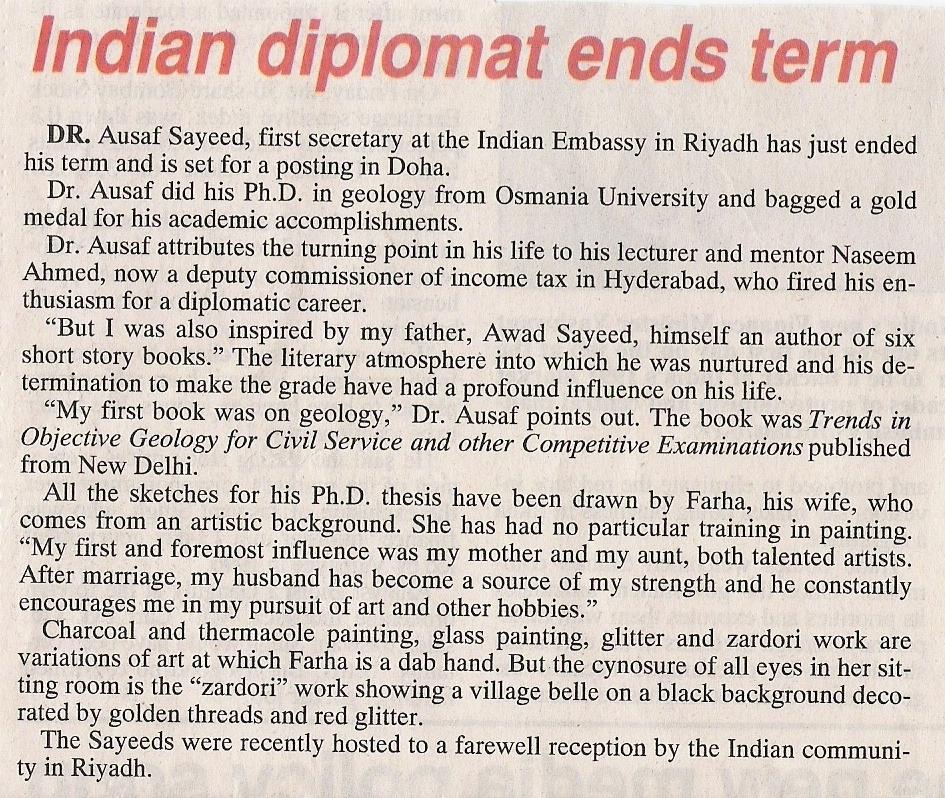 Indian Diplomat ends term