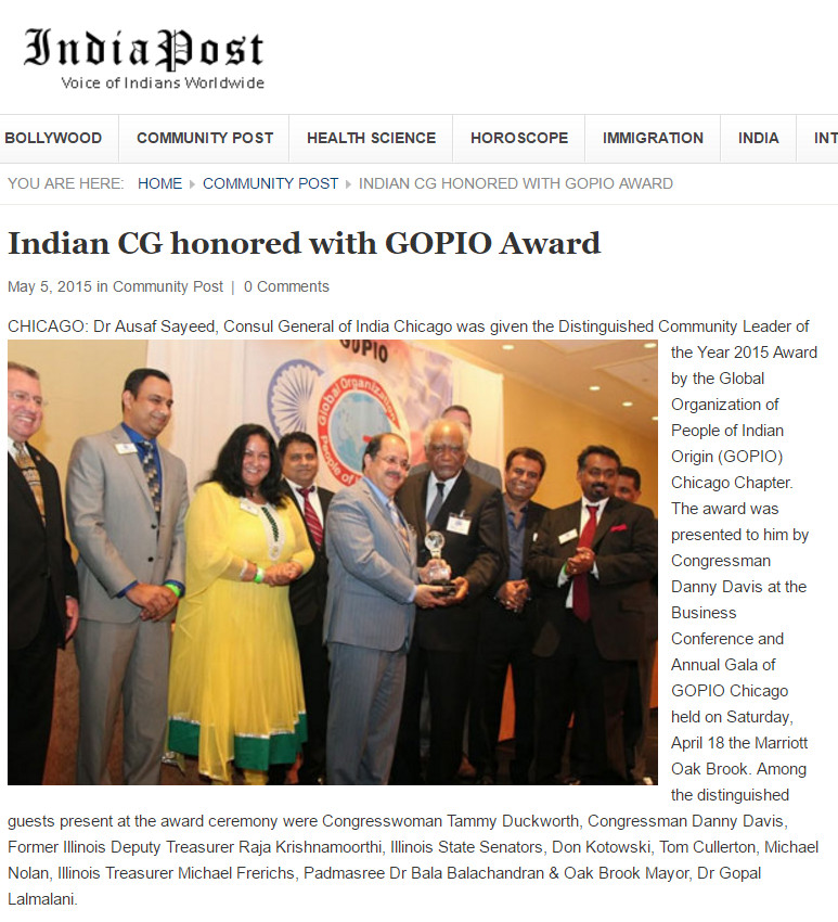 Dr. Ausaf Sayeed honored with GOPIO Award