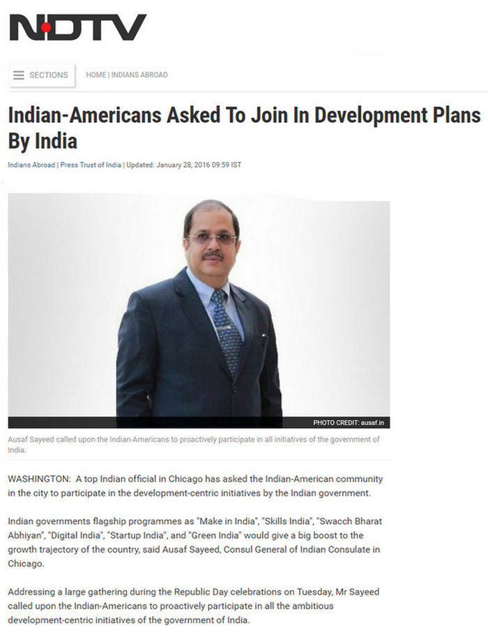 Dr. Ausaf Sayeed asks Indian-Americans to join Development Plans in India